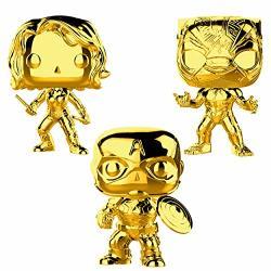 Funko Marvel: Pop Marvel Studios 10 Gold Chrome Collectors Set 2 - Black Widow Black Panther Captain America Toy