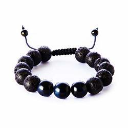 Balance Natural 12MM Tiger Eye Lava Rock Stones Bracelet Healing Energy Beads Yoga Handmade Meditation Braided Wrist Bracelet Fo
