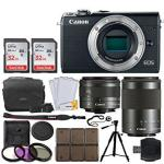 Canon Eos M100 Mirrorless Digital Camera + Ef-m 15-45MM F 3.5-6.3 Is Stm Lens Graphite + Ef-m 55-200MM F 4.5-6.3 Is Stm Lens Bla