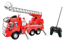 Toy Rc Rescue Fire Engine Truck Multi-function Remote Control W Extending Ladder By Bo Toys