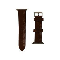 Igear 42MM Apple Watch Strap Chestnut cream Leather & Silver Buckle