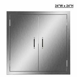 CO-Z Outdoor Kitchen Doors 304 Brushed Stainless Steel Double Bbq Access Doors For Outdoor Kitchen Commercial Bbq Island Grillin