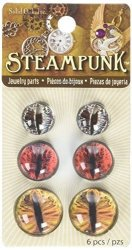 Solid Oak Steampunk Acrylic Dragon Eyes Earth Tones Accents 6 Pack