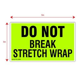 "Kenco 3"" X 5"" Do Not Break Stretch Wrap Fluorescent Shipping Label Stickers For Shipping Or Packing -500 Labels Per Roll"