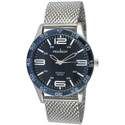 Peugeot Men's 'mesh' Quartz Metal And Stainless Steel Aviator Watch Color:silver-toned Model: 2049SL