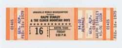 USA Ralph Stanley Ticket 1979 Feb 16 Austin Tx Unused
