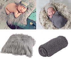 Aniwon 2PCS Baby Photo Props Long Ripple Wraps Diy Blanket Newborn Wraps Photography Mat For Baby Boys And Girls Grey & Dark Gre