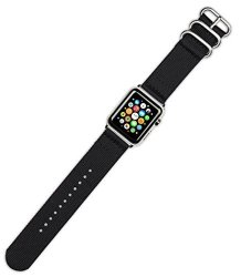 DeBeer Replacement Watch Band - 2-PIECE Nylon - Black - Fits 42MM Series 1 & 2 Apple Watch Black Ad