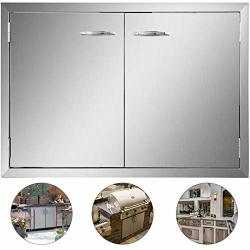 Mophorn Bbq Access Door 33W X 22H Inch Stainless Steel Bbq Double Door Outdoor Kitchen Doors Bbq Island Doors Silver