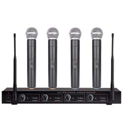 Bolymic BL3400 4 Channel Uhf Wireless Microphone System With 4 Handheld Microphones