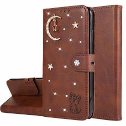 Miagon Diamond Wallet Case For Huawei Y6 2019 3D Moon Star Cat Design Pu Leather Flip Magnetic Closure Card Slots Stand Shockproof Full Protective Cover Brown