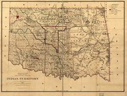 "Historic Prints 18"" X 24"" 1887 Map Of Indian Territory Compiled From The Official Records Of The Records Of The General Land Office &"