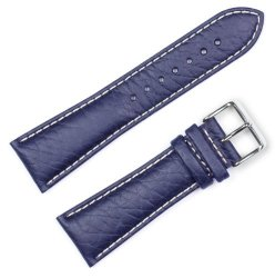 Sport Leather Watch Band Silver & Gold Buckle - Navy 22MM