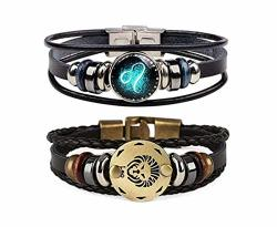 CHUYUN Retro 2PCS 12 Zodiac Constellation Beaded Hand Woven Leather Bracelet Braided Punk Chain Cuff Leo