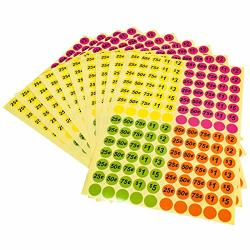 """Wjbb Garage S Stickers 3 4"""" Round Bright Colors Pricing Labels Preprinted Labels 2800 Packs 20 Sheets"""