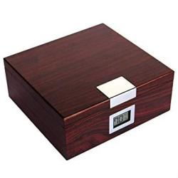 Handcrafted Cherry Finish Cedar Humidor With Front Digital Hygrometer And Humidifier Solution - Holds 25-50 Cigars By Case Elega