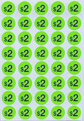 "Royal Green Price Stickers Garage Labels - Preprinted Pricing Label Bright Neon Fluorescent Green $2.00 Dollars + Bonus Blank Dots 3 4"" 19MM Diameter - Pack Of 1040 By"