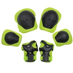 Kuyou Kid's Protective Gear Set Roller Skating Skateboard Bmx Scooter Cycling Protective Gear Pads Knee Pads+elbow Pads+wrist Pads Green