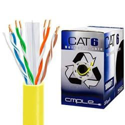 Cmple CAT6 Network Utp 23AWG Bulk Lan Ethernet Cable Crm Support 10 Gbps - 550 Mhz 1000 Feet Yellow