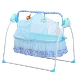 Electric Baby Bassinet Swing Tbvechi Music Remoter Control Sleeping Basket Bed Electric Big Auto-swing Bed Baby Cradle Space Safe Crib Infant Rocker Cot + Mat Blue