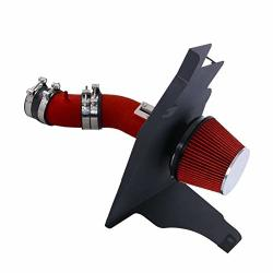 For 2011-2014 D Mustang V6 3.7L Engine Only 3.5 Inch Aluminum High Flow Air Intake Kit Red Heat Shield Pipe With Filter