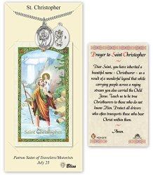 Pewter Saint Christopher Baseball Medal With Laminated Holy Prayer Card