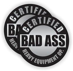 Pair Bad Ass Heavy Equipment Operator Hard Hat Stickers Motorcycle Helmet Decals Labels Crane Bulldozer Excavator Truck Construction Badass