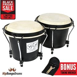 Hip Bongo Drums 2PCS Beautiful Tunable Bongo Drums With Natural Hides And Shells Durable Weatherproof Safe Nickel Wood Metal Hide Materials For