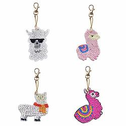 Diy Diamond Painting Keychains Special Shaped Animal Resin Diamond Painting Ornaments Pendants Small Diamond Art For Kids And Adult Beginners 4PCS SET