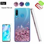 Atump For Huawei P30 Lite Case With HD Screen Protector For Girls Women Glitter Shell Moving Quicksand Clear Shockproof Anti- Sc