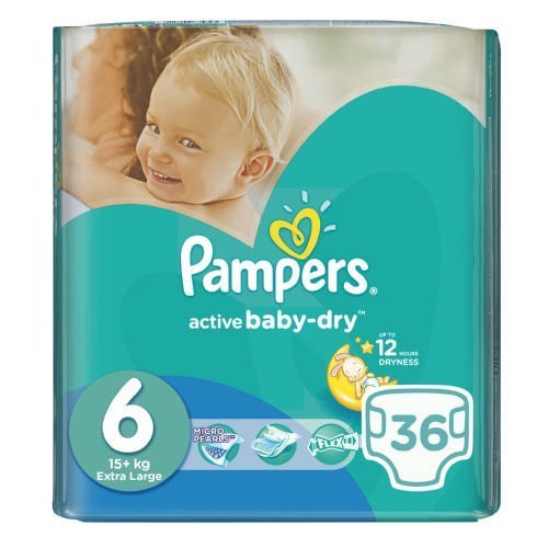 Pampers Active Baby-Dry 36 Nappies Size 6