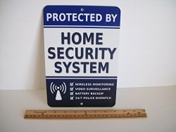 """Security Signs Home Security Alarm System 7"""" X 10"""" Metal Yard Sign - Stock 713"""