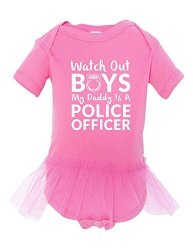 WATCH Out My Dads A Police Officer Baby Ballerina Tutu Funny Bodysuit Pink 6-12 Month