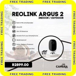 REOLINK Argus 2 Cctv Camera - Solar Battery Powered Indoor Outdoor | R |  Security Accessories | PriceCheck SA
