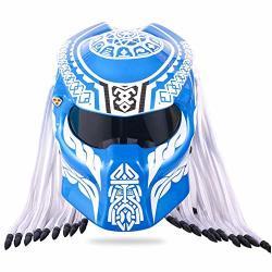 BQT Motorcycle Predator Carbon Fiber Helmet Full Face Helmet Anti-fog Lens Four Season Men And Women Helmet With Light Dot Safety Certified Blue M