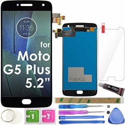 """G5 Plus Lcd Screen Replacement Touch Display Digitizer Assembly 5.2"""" Black For Motorola Moto G5 Plus XT1686 XT1681 XT1683 XT1684 XT1685 XT1687 With Tempered"""