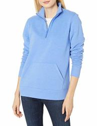 Amazon Essentials Women's Long-sleeve Lightweight French Terry Fleece Quarter-zip Top Blue Heather Medium