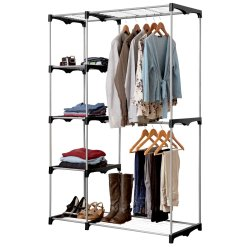 LAUNDRY HOUSE - Double Rod Wardrobe With 5 Shelves