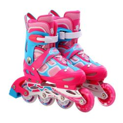 Cougar Water Cube Inline Skates With Illuminating Front Wheels Pink & Blue