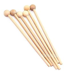 """Weichuan 12.5"""" Bell Mallets Glockenspiel Sticks - 12-1 2"""" Long Wood Mallets For Energy Chime Xylophone Wood Block And Bells 3 Pairs"""