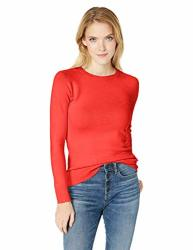 French Connection Women's Babysoft Long Sleeve Soft Solid Pullover Sweater Riot Red M