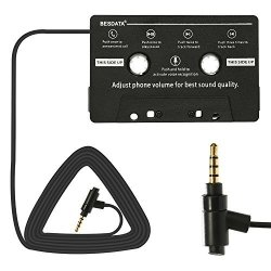Besdata Car Cassette Player Adapter Hands Free Calling And Music Cassette Adaptor With MIC Black