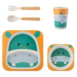 JAMMYLIZARD Children's 5 Piece Bamboo Dinner Set 100% Natural Plastic Free And Eco-friendly Hippo