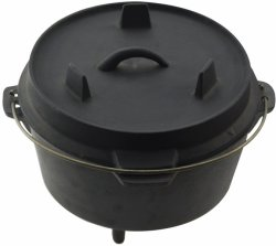 TOTAI - Dutch Pot 960 9.6L Cast Iron Dutch Pot With Legs Black