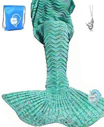 "LAGHCAT Mermaid Tail Blanket Knit Crochet Mermaid Blanket For Adult Oversized Sleeping Blanket Wave Pattern 75""X35.5"" Green"