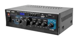 Pyle Home Audio Power Amplifier System - 2X120W Dual Channel Mixer Sound Stereo Receiver Box W rca USB Aux Headphone MIC Input LED - For Pa