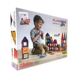 Playmags - Magnetic Tile Clear Colour 100 Pieces With Super Mags