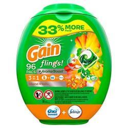 Gain Flings Liquid Laundry Detergent Pacs Island Fresh 96 Count