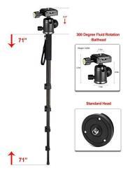 "Professional Heavy Duty 72"" Monopod unipod Dual Optional Head For Sony E-mount Sel 1855 18-55MM F 3.5-5.6"