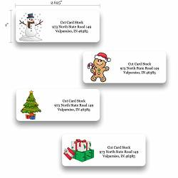 Personalized Return Address Labels - Christmas Themed And Design - 120 Labels - Made In The U.s.a. 120 Labels